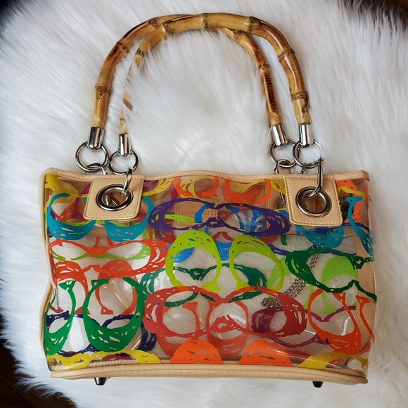 Coach Handbags - RARE Coach Clear PVC Multi Color Scribble Hand Bag
